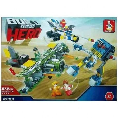 Builo Civilian Hero Avión Robot 2 En 1 Bloques 578pcs 25820