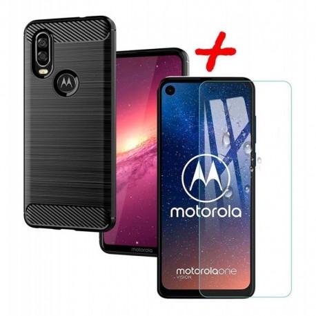 Estuche Forro Motorola One Vision + Vidrio Templado 2d