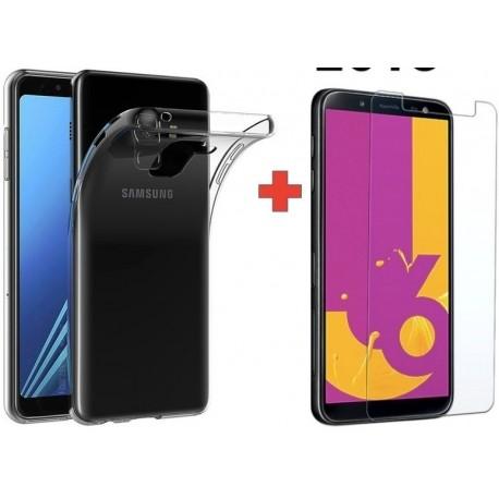 Goma Clear + Vidrio Templado 2d Samsung J6 Plus / J4 Plus (Entrega Inmediata)