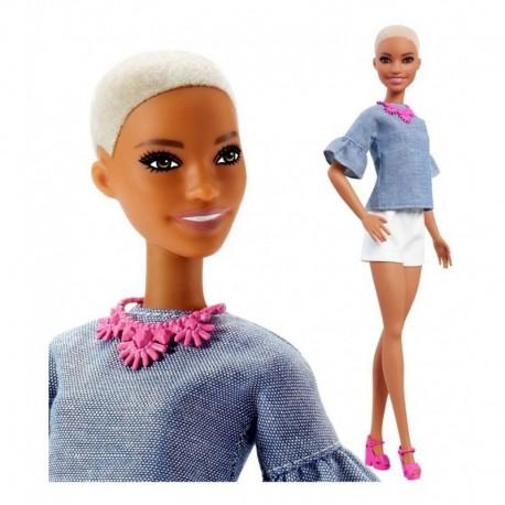 Barbie Fashionista 82 Rubia Rapada Tacones Fucsia Fnj40