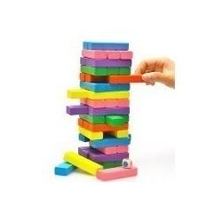 Torre Tipo Jenga Madera Bloques 48 Pz Dados R2307-128 Juego (Entrega Inmediata)