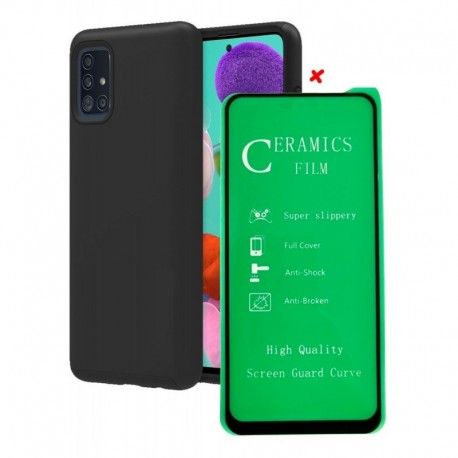 Samsung A51 Estuche Forro Semireforzado + Vidrio Cerámico