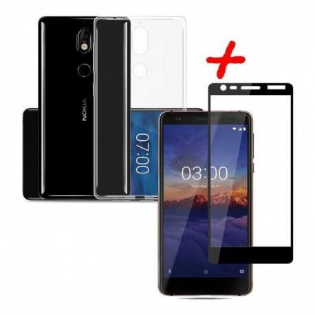Goma Clear + Vidrio Templado 5d Full Nokia 3.1 / 3.1 Plus (Entrega Inmediata)