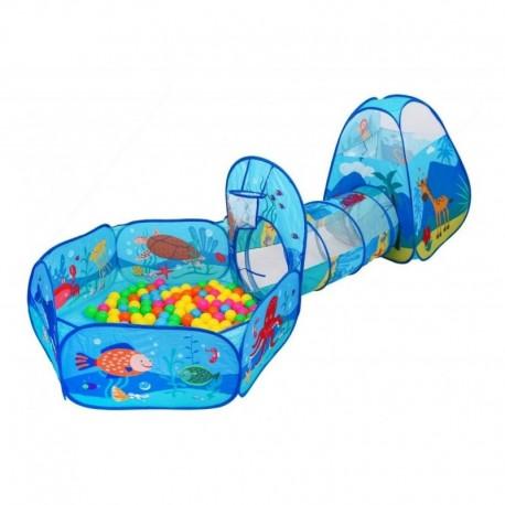 Carpa 3 En 1 Túnel Azul Mar Piscina Con 250 Pelotas Niños (Entrega Inmediata)