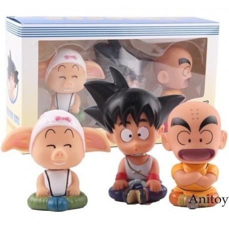 Figura Dragon Ball Goku Krilin Y Oolong Cabeza De Oscilante (Entrega Inmediata)