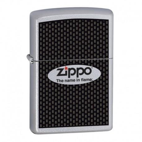 ¡ Encendedor Zippo Stamped Name In Flame Logo Plateado !!