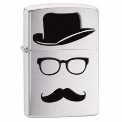 ¡ Zippo Stamp Moustache Faceless And Hat 28648 Plateado !!