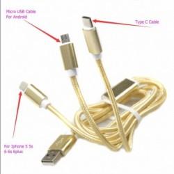 Cable Usb De Carga Y Datos Ultra Rápido 3 En Uno Nylon Ip 7 (Entrega Inmediata)