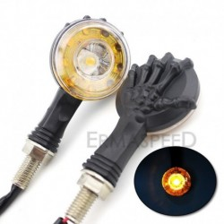 Luces 16 Leds Moto Mano Calavera Universales Negro X 2 (Entrega Inmediata)