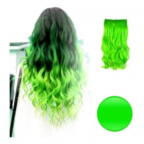 Extension De Cabello Unicolor Rizada Verde