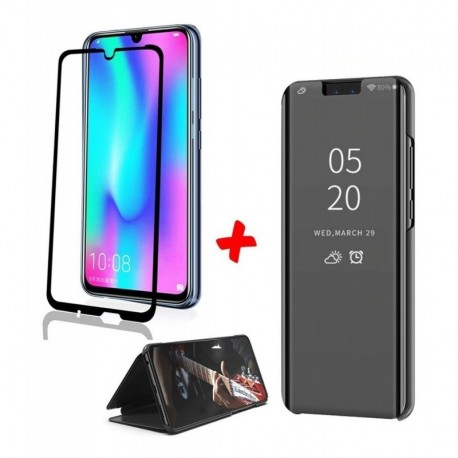 Flip Cover De Lujo Espejo + Vidrio 5d Huawei P Smart 2019 (Entrega Inmediata)