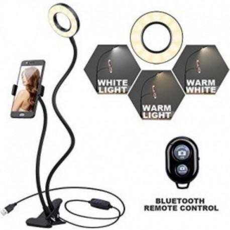 Selfi Aro Luz 9cm Soporte Celular Gancho Bluetooth Tik Tok (Entrega Inmediata)