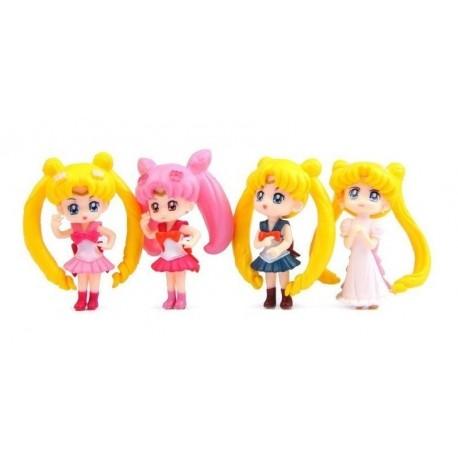 Set De 4 Mini Figuras De Sailor Moon Coleccionables (Entrega Inmediata)