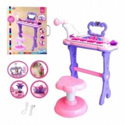 Piano Tocador Infantil Con Micrófono Espejo Y Silla Ref. A27 (Entrega Inmediata)