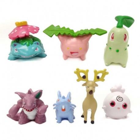 Pokémon Chikorita Colección X 7 Figuras En Bolsa (Entrega Inmediata)