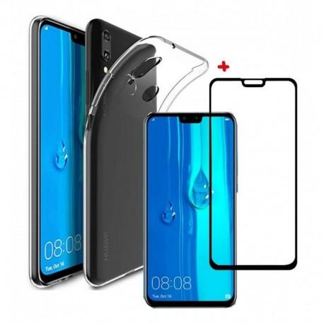Goma Clear + Vidrio Templado 5d Full Huawei Y9 2019 (Entrega Inmediata)