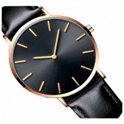 Reloj Ultra Delgado Correa Negra- Marco Dorado (Entrega Inmediata)