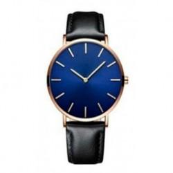Reloj Ultra Delgado Correa Negra Fondo Azul Marco Dorado (Entrega Inmediata)
