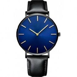 Reloj Ultra Delgado Correa Negro Fondo Azul Marco Negro (Entrega Inmediata)