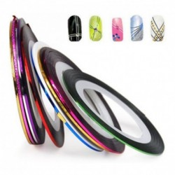 ¡ Kit 12 Cintas Nail Art Tirillas Adhesivas Decorar Uñas !! (Entrega Inmediata)