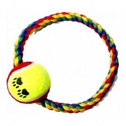 ¡ Juguete Lazo Aro Verde Negro Con Bola De Tenis Mascotas !! (Entrega Inmediata)