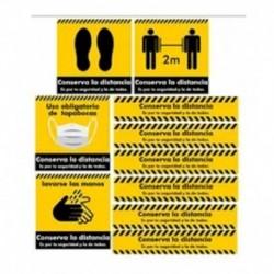 Kit De Sañales De Seguridad Distanciamiento Social Adhesivos (Entrega Inmediata)