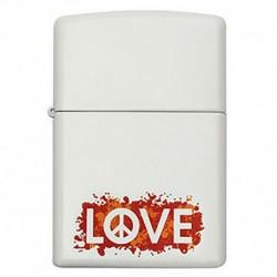 ¡ Zippo Stamp Peace Love Paz Amor 29542 - Blanco !! (Entrega Inmediata)