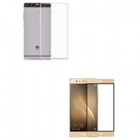 Kit Silicona Transparente + Vidrio Dorado Huawei P9 (Entrega Inmediata)