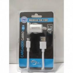 Cargador Carga Rápida Para Carro Samsung Con Cable V8 (23c) (Entrega Inmediata)