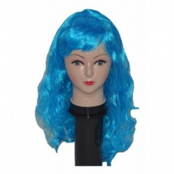 Peluca Azul Ondulada Larga (Entrega Inmediata)