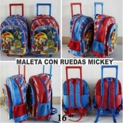 Maleta Escolar Con Ruedas Mickey 16 (Entrega Inmediata)