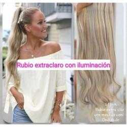 Cola Coleta De Cabello Seminatural Rubio Extraclaro Ondulado (Entrega Inmediata)