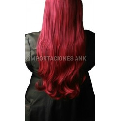 Extensiones De Cabello Seminatural Rojo Cereza Liso Extralar (Entrega Inmediata)