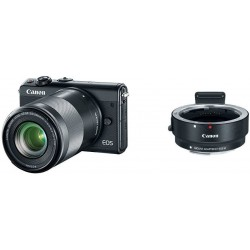 Camara Canon EOS M100 Mirrorless Camera w/ 15-45mm Lens & 55-200mm Wi-Fi Bluetooth and NFC enabled Black M Mount Adapter