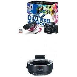 Camara Canon EOS M50 Video Creator Kit EF-M15-45mm Lens Rode VIDEOMIC GO 32GB Sandisk Memory Card and M Mount Adapter Black