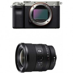 Camara Sony Alpha 7C Full-Frame Mirrorless Camera Silver FE 20mm F1.8 G Large-Aperture Ultra-Wide Angle Lens Model SEL20F18G