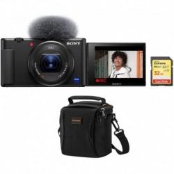 Camara Sony ZV-1 Compact 4K HD Digital Camera Black Bundle Shoulder Bag 32GB SD Card