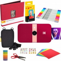 Camara Kodak Smile Instant Print Digital Camera Red Scrapbook Kit Soft Case