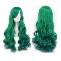 ¡ Peluca Bicolor Degradee 70cm Harajuku Verde Azul !! (Entrega Inmediata)
