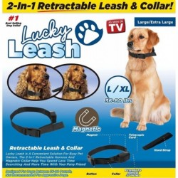 Lucky Leash- 2-n-1 Collar Y Correa Retractil- L/xl (Entrega Inmediata)