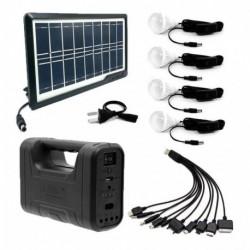 Kit Panel Solar+4 Bombillos+batería+linterna Autos Cargador (Entrega Inmediata)