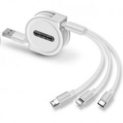 Cargador Múltiple 3 En 1 Retráctil Micro Usb Tipo C iPhone (Entrega Inmediata)