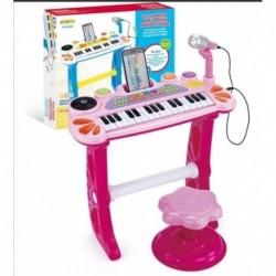 Organeta Piano De Mesa Para Niño Azul Con Silla (Entrega Inmediata)