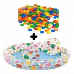 Piscina Inflable Mas Flotador + Balón 132 X 28 +pelotas (Entrega Inmediata)
