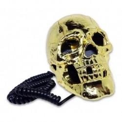 Teléfono Fijo Cráneo Dorado Calavera Con Ojos Led Alámbrico (Entrega Inmediata)