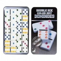 Domino 28 Fichas Doble 6 De Colores Caja Metálica (Entrega Inmediata)