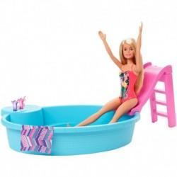 Barbie Rubia Con Piscina Tobogán Y Accesorios Mattel Ghl91 (Entrega Inmediata)