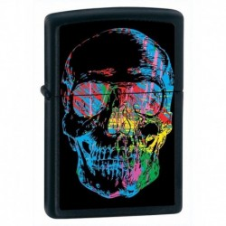 ¡ Zippo Stamp Skull X-ray Neon World 28042 Black Matte !! (Entrega Inmediata)