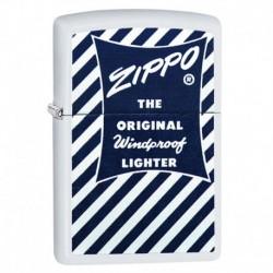 ¡ Zippo Stamp Logo Design Blue & White 29413 - Blanco !! (Entrega Inmediata)