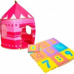 Combo Carpa Castillo Para Princesas Rosado + Tapete De Fomi (Entrega Inmediata)